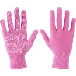 Kötött kesztyű, rózsaszín, fehér PVC pöttyökkel